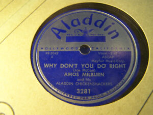 78 RPM Record! Amos Milburn! Why Don't You Do Right! NM Aladdin