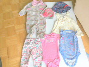 Baby Girl Clothes (3-6 month) 8 Items Lot, T-Shirts, Dress, Hats