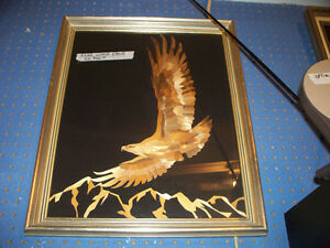 Wood Eagle Framed Picture. Frame size 18 x 22""