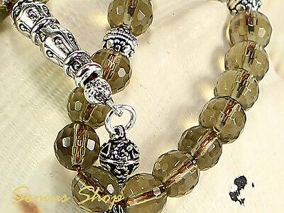 Islamic Prayer Beads Tesbih Smoky Quartz - Dumanli Quartz with 925 Er