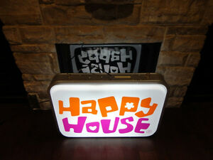 ONE OF A KIND Happy House Dual Sided Fluorescent Hanging Sign Kitchener / Waterloo Kitchener Area image 2