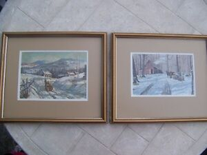 Work Horse Winter scene Framed Prints