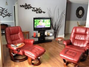 2 LEATHER RECLINERS- WITH OTTOMAN'S- HALF PRICE!!!