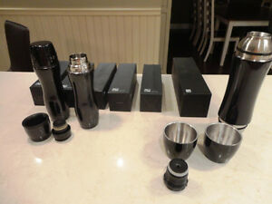6 Large & 2 Small Brand new Stainless & Gloss Black Drink Flasks