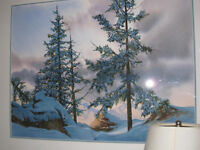 Canadian winter scene original water color proper listed artist.