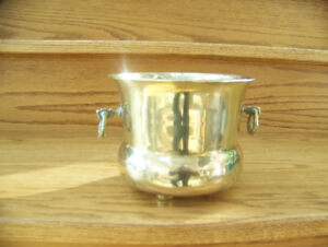 Footed Brass Planter with Handles