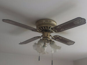 Gold and Wood Ceiling Fan in Excellent Condition!