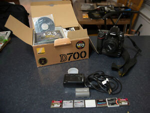 Nikon D700 with grip, batteries and cards