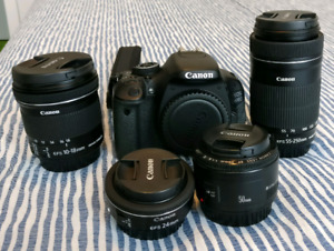 Canon DSLR camera kit - 600D with 10-18, 24, 50, 55-250 mm lens