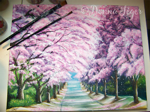 Cherry Blossom Trees Original Painting