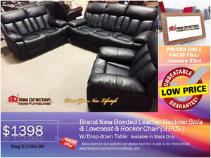 ◆ BRAND NEW BONDED LEATHER 3PCS RECLINER SET@NEWD
