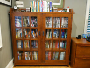 1 Solid Cherry Double Bookcase glass doors (Mission Collection)