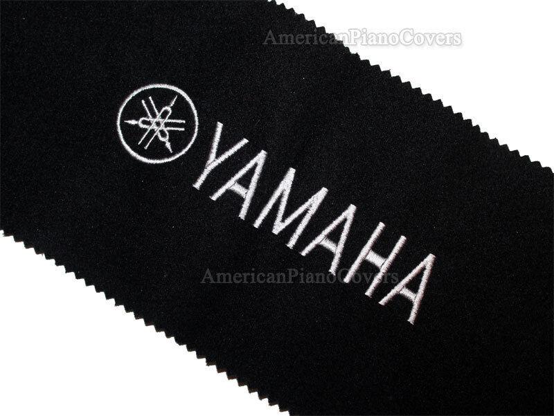 Yamaha Piano Key Cover - Black Felt Silver Embroidered Keybo