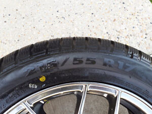 Winter tires 215/55 R17, special rims