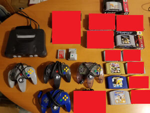 Nintendo N64 package - console, 4 controllers, 5 games + acc