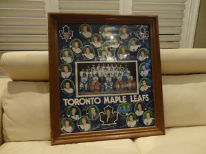 Vintage 1970's Wood Framed Maple Leafs Poster -Great Memorabilia