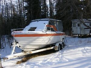 reinell cabin cruiser 22ft with trailer