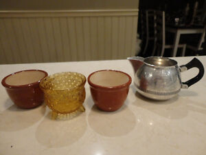 Vintage Kitchenware Items 1950-60's Creamer, Sugar Cube Bowl etc