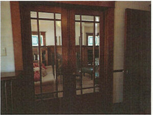 Pair of Antique Beveled Glass Oak French Doors