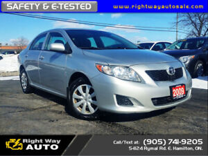 2009 Toyota Corolla CE   LOW KMS   SAFETY & E-TESTED