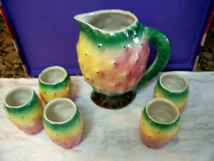 Vintage Cactus Pear Pitcher and Drinking Glasses