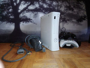 Xbox 360 and 2 controllers (with controller charging stand)