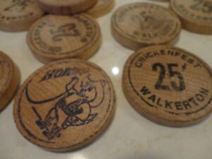 Collectible Wood Walkerton Chickenfest Tokens -Awesome Nostalgia Kitchener / Waterloo Kitchener Area image 2