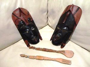 Pair of Tribal Solid Wood Lovely painted Masks w/wood Utensils Kitchener / Waterloo Kitchener Area image 2
