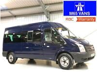 FORD TRANSIT MINIBUS 14 SEATER 135 T350 3500KG LOW MILEAGE BLUE CHOICE OF 2