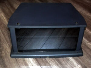 JVC Glass front tv entertainment stand unit table on wheels
