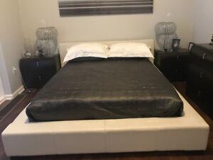 Queen Leather Upholstered Platform Bed