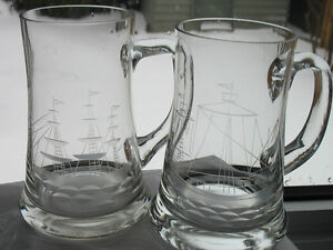 Glass Etched  Ship   Mugs (2)