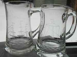 Glass Etched  Ship   Mugs (2)