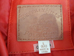 Kids Red Polo Club Red Leather Coat Size L (6x) (Ages 6 to 8yrs) Kitchener / Waterloo Kitchener Area image 4