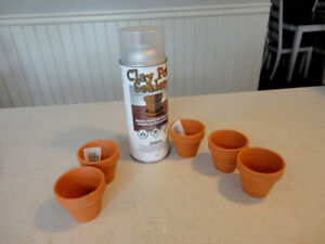 New Can of Clay Pot Sealer Spray and 5 New Mini Clay Pots