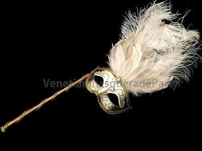 White Masquerade ball Ostrich feather stick Mask Costume Prom Wedding Party - Masquerade Masks White