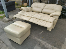Sofa - Quality Extra Comfy 2 Seater and Stool Cream Leather Sofa