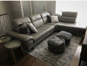 Natuzzi Grey Leather Couch - Made in Italy - Excellent Condition