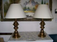 two solid brass table lamps with shades