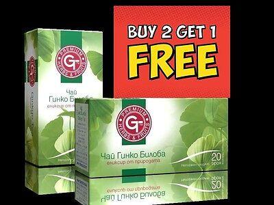BUY 2 GET 1 FREE by GT 100% Natural Herbal Tea Ginkgo Biloba 20 sachets in Box