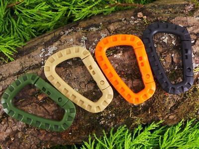 5 X LIGHTWEIGHT TACTICAL PLASTIC POM CARABINERS BUSHCRAFT D RING MOLLE