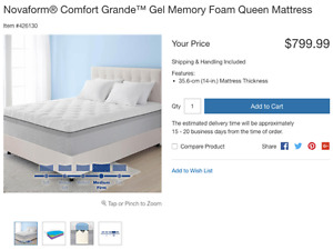Novaform® Comfort Grande™ Gel Memory Foam Queen Mattress