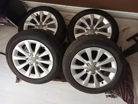 """Audi 4 × 17"""" alloys with tyres"""