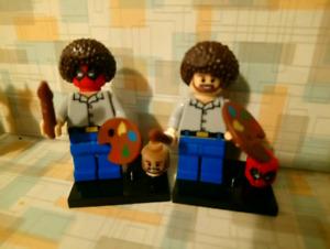 Bob Ross,  pyjama deadpool, alien. Minifigures