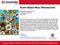 Plant Based Meal Preparation, Canadore College, Parry Sound