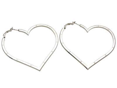 Authentic vintage Chanel stud pierced earrings big heart CC logo #st602