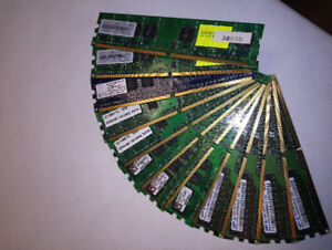 12 Computer Memory Chips (Various capacities & Brands)
