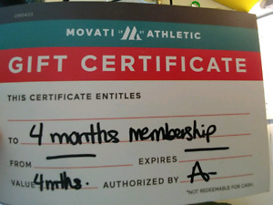 Movati 4 month gift certificate