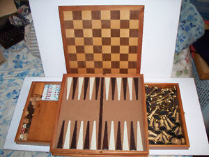 Wood Games Set in 14 1/4x14 1/4x2 1/4 Board/Box with 2 drawers.