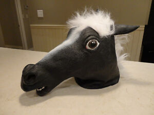2 Brand New Black and White Latex Horse Head Masks  -Awesome!!!